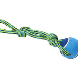 BUSTER | Colour Tuggaball Handle m/tennisbold, blå/lime