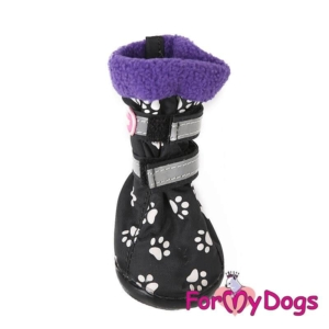 ForMyDogs | Boots med fleece-foer – lilla, str. 3