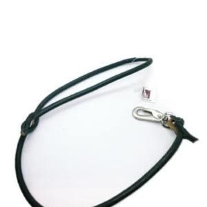 Håndlavet læderline | Sort, sølv HS karabinhage