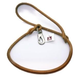 Håndlavet læderline | Cognac, sølv HS karabinhage