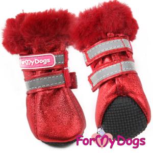 ForMyDogs | Boots med fake fur-foering, rød